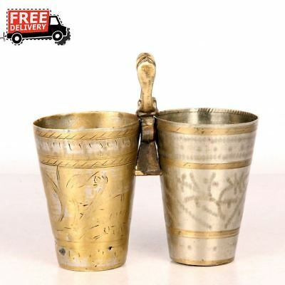 2 Pc 1940's Old Brass Unique Plated Engraved Twin Milk / Lassi Glass 7416