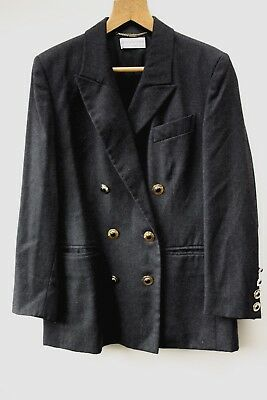 Vintage Givenchy En Plus 12W Grey Wool Double Breasted Jacket Size 40