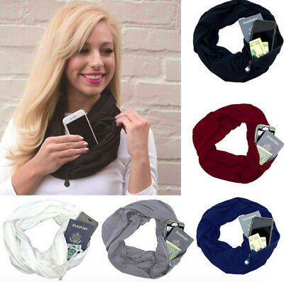 2019 Fashion Women mens Winter Thermal Active Infinity Scarf With Zip Pocket