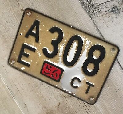 1956 CONNECTICUT LICENSE PLATE AE 308 CT Good Condition