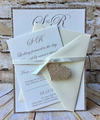 Champagne Gold Glitter Heart Wedding Invitations With