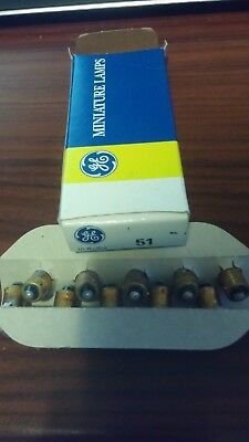 (10) Genuine GE, Miniature Lamps , Bulb , 51 , NO. 51, G 3 1/2, 6-8V