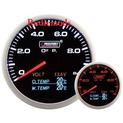 Prosport 60mm 4-1 Multi Gauge Oil Pressure, Oil Temp, Water Temp, Volt