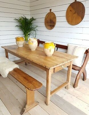 A stunning 18th c french farm house refectory table in pine