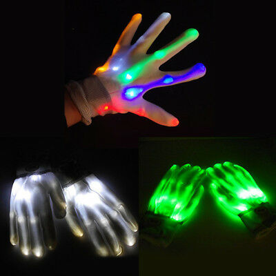 1x LED Flashing Gloves Glow Light Up Finger Tip Lighting Christmas Party Gift AU