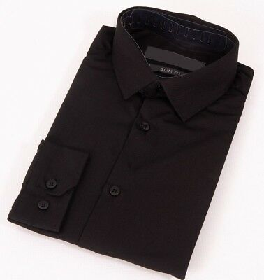 Mens Black Shirt Formal Long Sleeve Slim Regular Fit Plain Business Work Collar