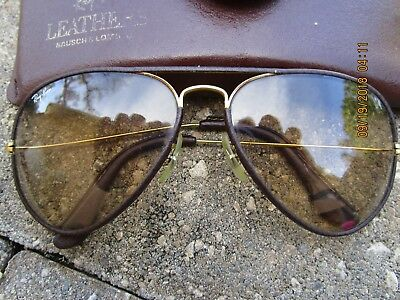 a32122cce14 VINTAGE RAY-BAN LEATHER Bausch   Lomb Aviator Sunglasses In Case Euc ...