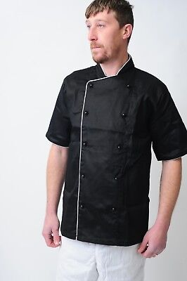 Chefs Jacket Chef Coat White & Black With Piping Coat Chefwear Unisex Catering