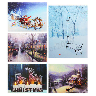 Christmas Wall Decor LED Light Up Wall Art Canvas Pictures Sweet Home Print