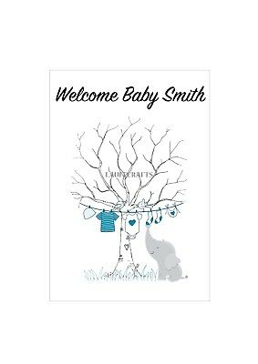 FINGER PRINT GUESTBOOK Tree A4 For BABY SHOWER- Baby Boy Elephant Design