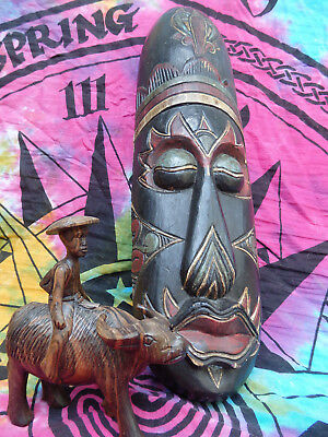 X2 Indonesian Mask Tribal Masks Indonesia Wood + Carved Man Riding Water Buffalo
