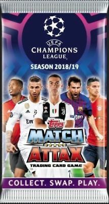 2018 2019 Topps UEFA Champions League Soccer Match Attax 6 Cards Per Pack