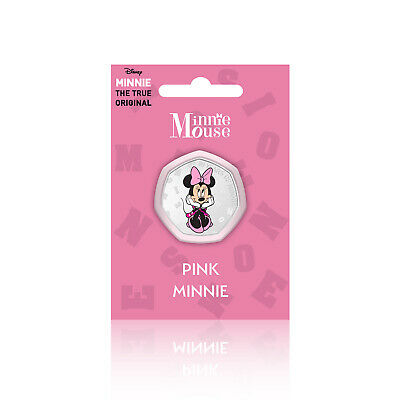 Minnie Mouse Disney Gifts 50p Shaped Collectable Silver Coin - Pink Minnie