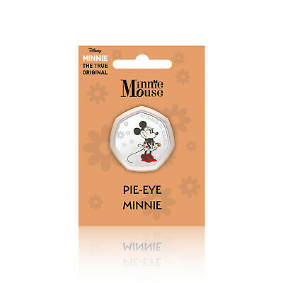Minnie Mouse Disney Gifts 50p Shaped Collectable Silver Coin - Pie-Eye Minnie
