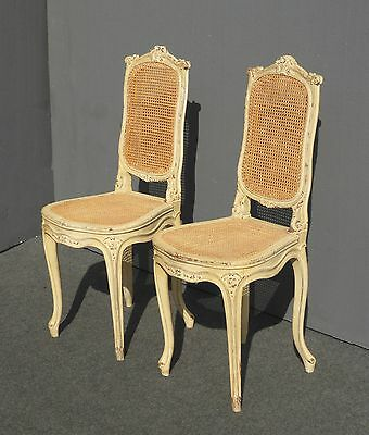 Pair Vintage French Provincial Rococo White Petite CANE ACCENT CHAIRS Louis XVl