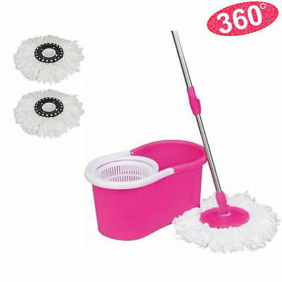 Easy Magic Floor Mop 360° Rotating Head Bucket + 2x Head Microfiber Spinning USA
