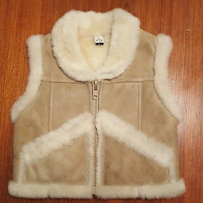 Rare G.L.BOWRON Suede Patmark Western Fur Real Shearling Vest Size 6 Youth 108.1