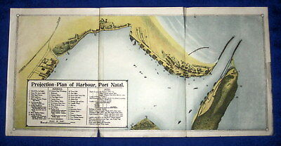 """PROJECTION PLAN of HARBOUR, PORT NATAL, 1911 print. 20x10"""" Durban South Africa,"""