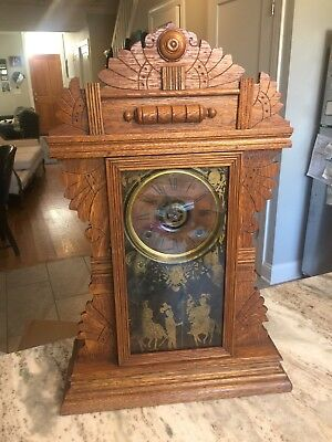 ANTIQUE AMERICAN E.N. WELCH FINE OAK PARLOR CLOCK WITH ALARM SYSTEM Gingerbread