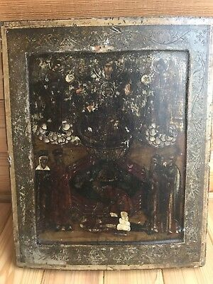 "Antique 19c Russian Orthodox Hand Painted Wood Icon ""Life-giving Source"""