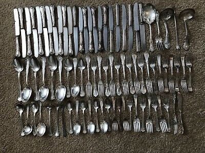 Antique Silverplate Flatware Lot 81-Pieces Nearly Ten Pounds (75% Wm. Rogers)