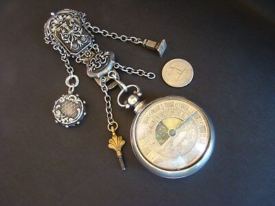 Sun and Moon Silver Verge Fusee Pocket Watch w/ Chatelaine chain
