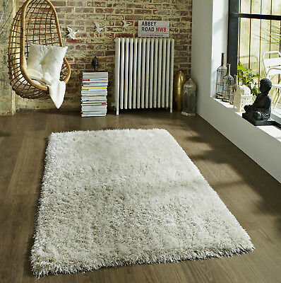 Small - Extra Large Ultra Thick Long 9Cm Pile Ivory Cream Shaggy Rug, Clearance