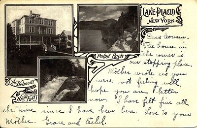 Belmont Hotel, Lake Placid, NY., also Pulpit Rocks, High Falls, 1908