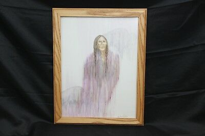 "Ghost Indian 3 Buffalo Painting Native American Artist Ann Irons 16"" x 12"""