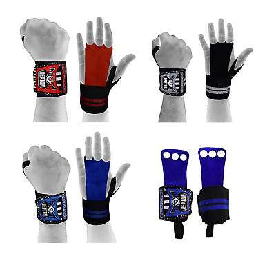 Repton Leather hand Grip palm protector with wrist support 2 in one Wrist Wraps