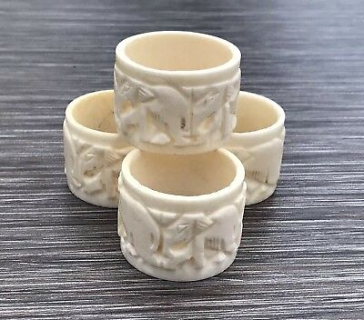 Vintage Celluloid Bakelite Ivorine Napkin Rings Carved Elephants x 4 Unusual