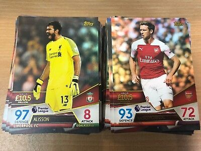 Topps Match Attax Ultimate 2018-2019 Complete Set 100 Base Cards