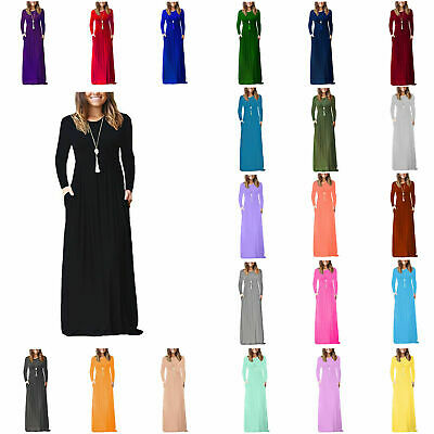 RSVH WLSPM Women's Full sleeve Loose Plain Maxi Casual Long Dresses with Pockets
