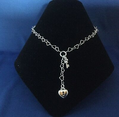"""45571857bc697 925 STERLING SILVER Heart Lock Key Chain 15.5"""" Choker Necklace Made in Italy"""