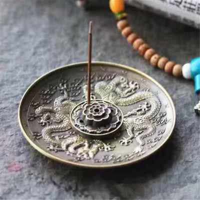 5 Holes Dragon Lotus Incense Burner Holder Retro Censer Plate For Stick Cone