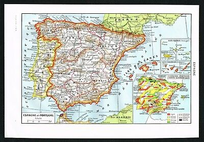 Spain Portugal Iberian Peninsula- 1948 Vintage Map - Larousse