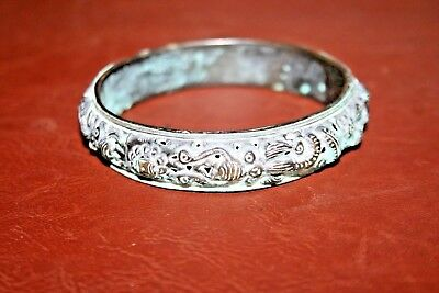 "Antique VERY OLD Ancient Asian Heavy Patina Bronze 3"" Serpent Dragon Bracelet"
