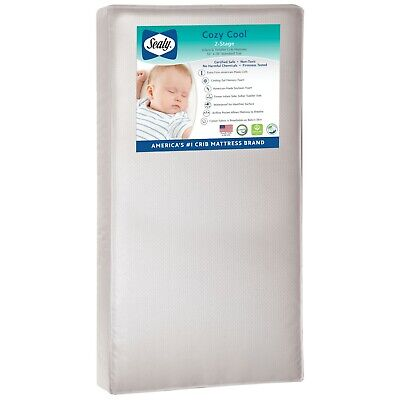 Sealy Cozy Cool Hybrid 2-Stage Coil & Gel Waterproof Crib Mattress-Free Shipping