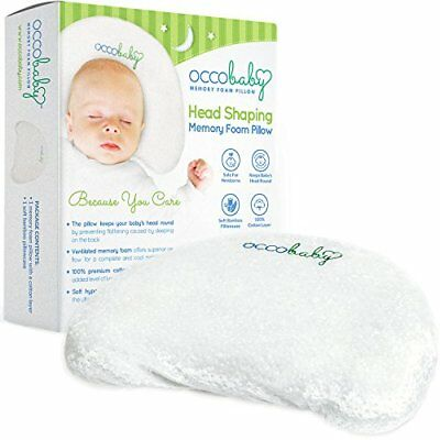 OCCObaby Baby Head Shaping Memory Foam Pillow | Cotton Cover & Bamboo Pillowcase