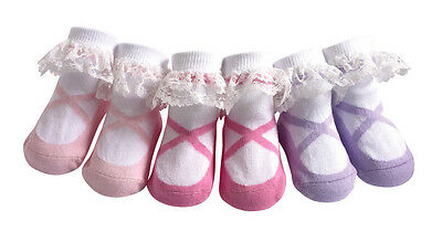 JazzyToes® Lacy Ballerina socks Gift Set of 3 Pair-Size 0-12 Months