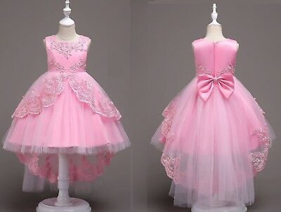 01aee715df6 Kids Flower Girl Bow Princess Dress for Girls Party Wedding Bridesmaid Gown  ZG8