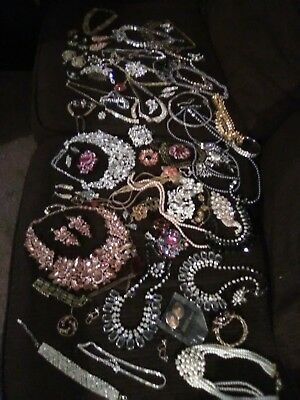 Huge Vintage Jewelry Lot, Rinestones