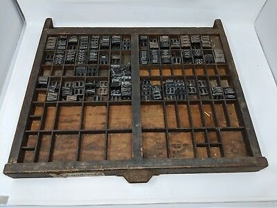 VTG.WOOD LETTERPRESS TRAY PRINTERS TYPESET DRAWER  SHADOW BOX w/ tons of letters