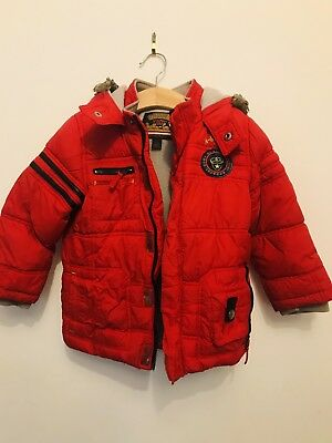 Next Boys Red Hooded Coat Age 3/4