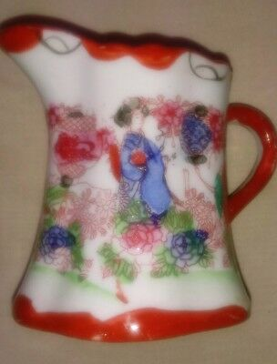 Vintage Red Geisha Girl Hand Painted Creamer Or Pitcher Made In Japan 3""