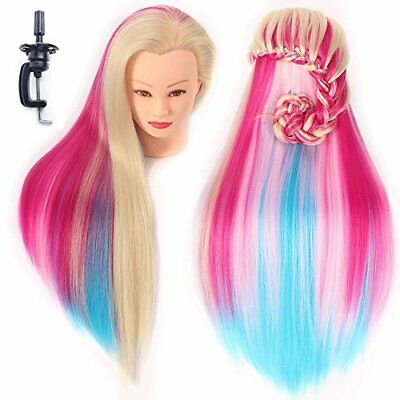 Training Head Hairdressing Mannequin Manikin Doll 100% Synthetic Fiber Hair By H