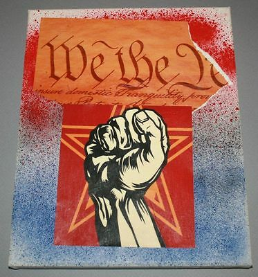 We The People Mixed Media Collage Art On Canvas Spray Paint Banksy Graffiti