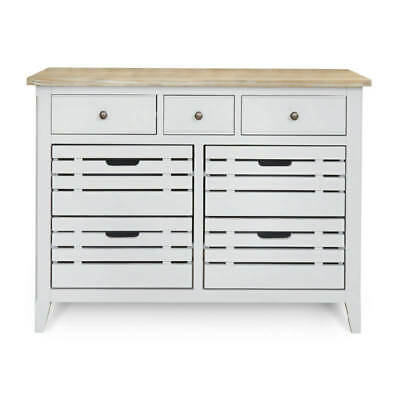 Painted Grey Sideboard or Servery, 7 Drawers. Signature Solid Wood, Assembled.