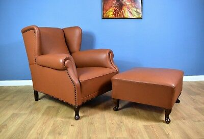 Antique Georgian Style Tan Brown Leather Wingback Lounge Arm Chair with Ottoman