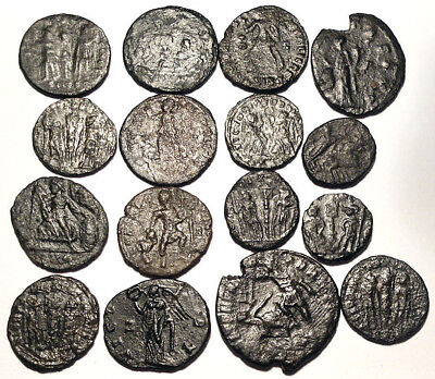 Lot of 16 Æ2-4 Ancient Roman Bronze Coins from III.-IV. Century